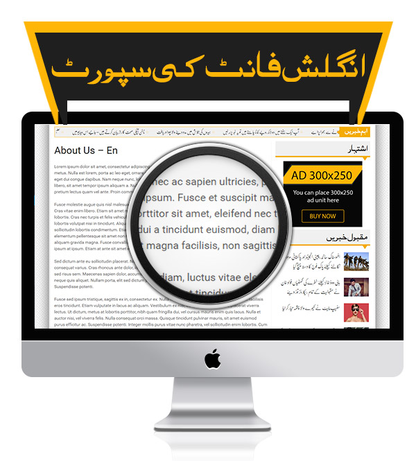 English Font Support - Premium Urdu Newspaper Theme